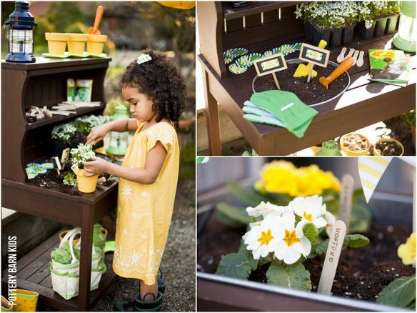 darling gardening party. seed packet invites, dirt pudding cups, pot your own plant as favors {tomkat for pbk}