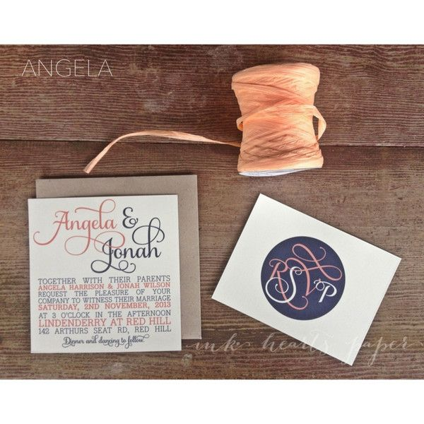 Rustic Vintage Backyard calligraphy script monogram coral peach navy raffia brown kraft recycled typographic square wedding invitation RSVP card Melbourne Australia