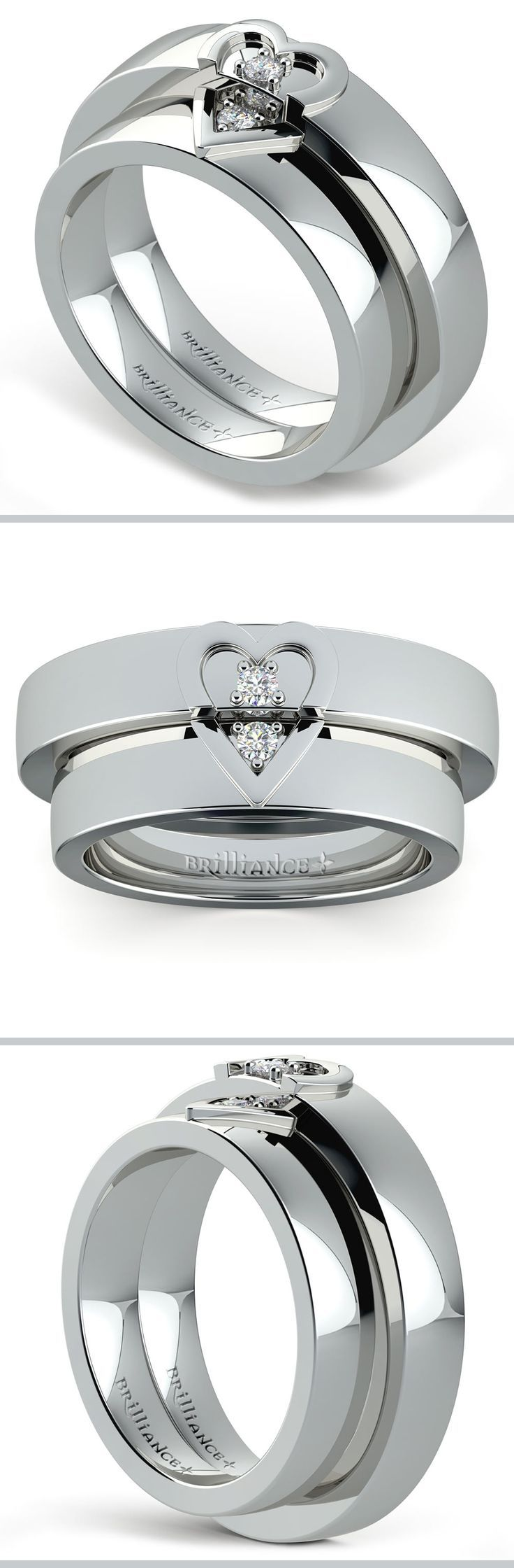 Matching His And Hers 5 Mm Wedding Bands In Platinum Feature A Split Heart  Puzzle Detail Wedding Ring Setdiamond