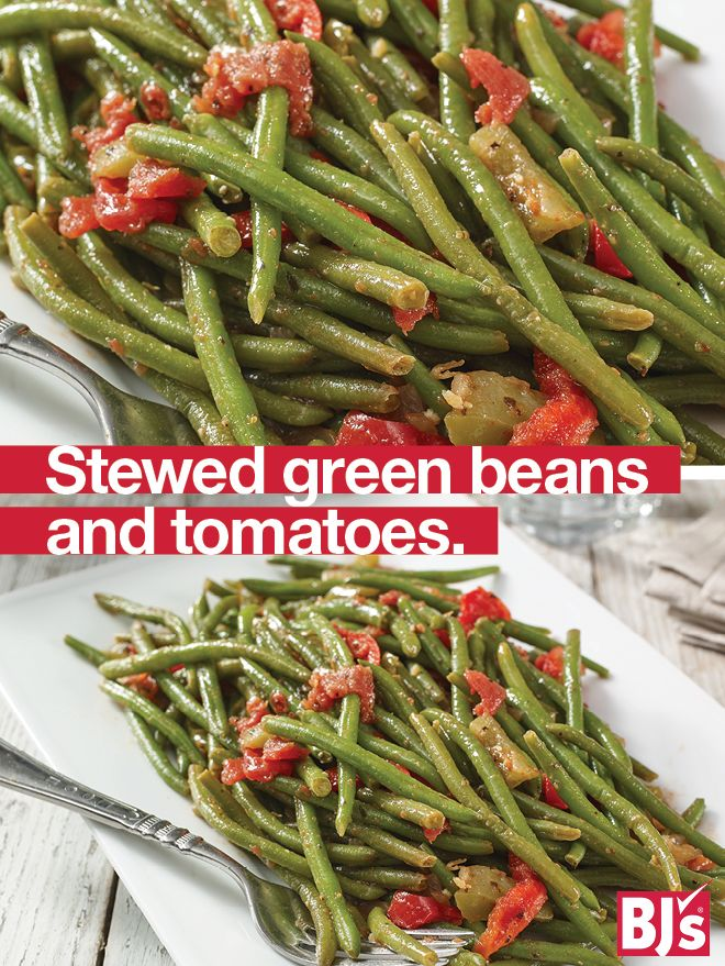 Stewed Green Beans and Tomatoes - Get your kids to eat their veggies with this easy side dish recipe. http://stocked.bjs.com/food/stewed-green-beans-and-tomatoes