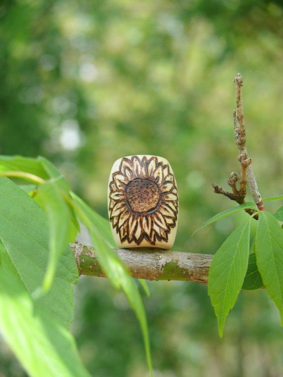 Wooden dread bead - sunflower jewelry - natural dreadlock accessories made by…