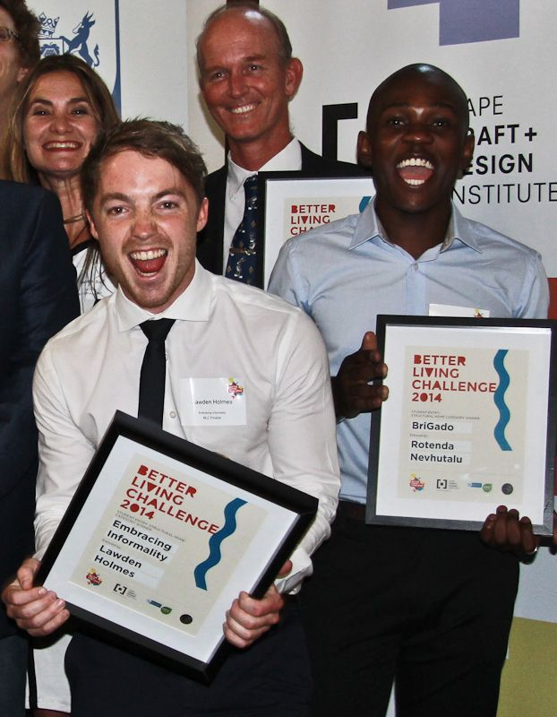 Our Excited Student Winners - Lawden Holmes (Embracing Informality) and Rotenda Nevhutalo (BriGado) #StudentWinners #futuredesigners #EmbracingInformality #BriGado  http://betterlivingchallenge.co.za/better-living-challenge-proud-announce-2014-winners/