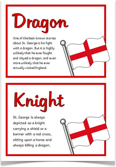A set of 20 A5 fact cards that give fun and interesting facts about St. George and St.George's Day. Each fact appears with the national flag of England. A great resource for discussing, displaying and activities! Designed by teachers for Early Years (EYFS), Key Stage 1 (KS1) and Key Stage 2 (KS2).