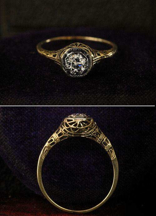 1920s 0.27ct European Cut Diamond Engagement Ring 14K Filigree
