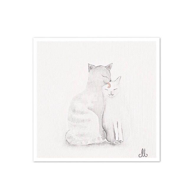 Anne ve yavru kedi... Bebek ve çocuk odaları için yağlıboya tablolar...