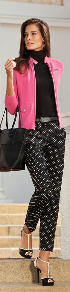 The polka dots, pink and solid black is not suppose to work but it actually does.  Killer shoes ~ Ree