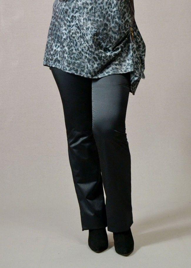 παντελόνι από σατέν ελαστικό ύφασμα σε στενή γραμμή