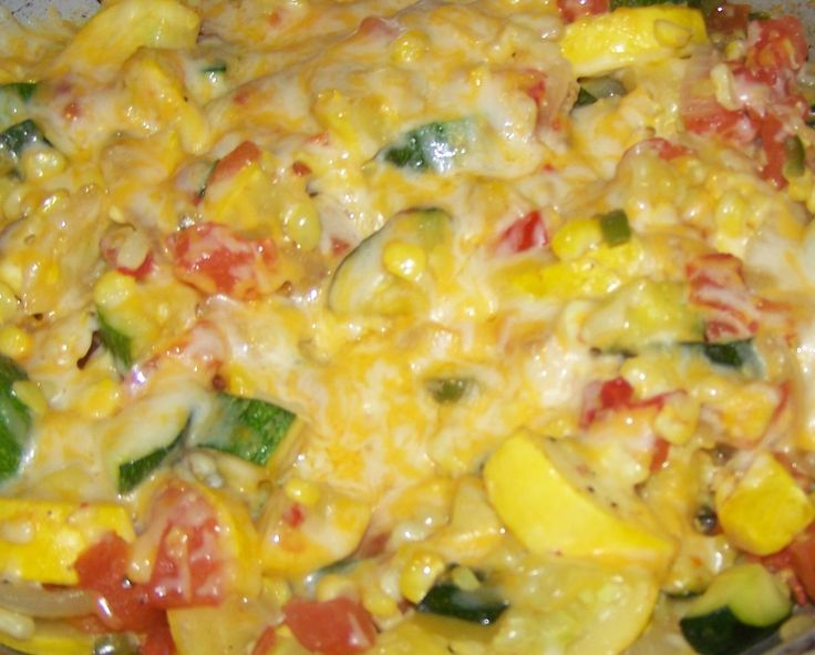 Mexican Calabasitas...delicious!  Just used green zucchini, onions, tomato, garlic, corn, tomato sauce, and cheese.