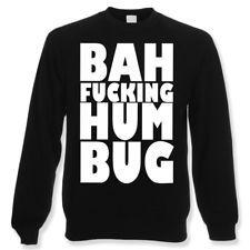 Bah F***ing Hum Bug Funny Christmas Jumper   Black Rude Xmas Sweatshirt