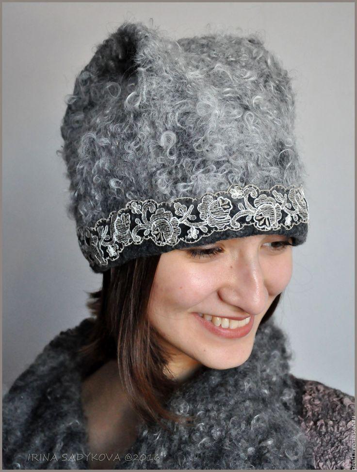 "Купить Шапочка ""Невенград"" - серый, экомех, шапочка, шапочка с кружевом, войлок, зимняя шапочка, шапка"