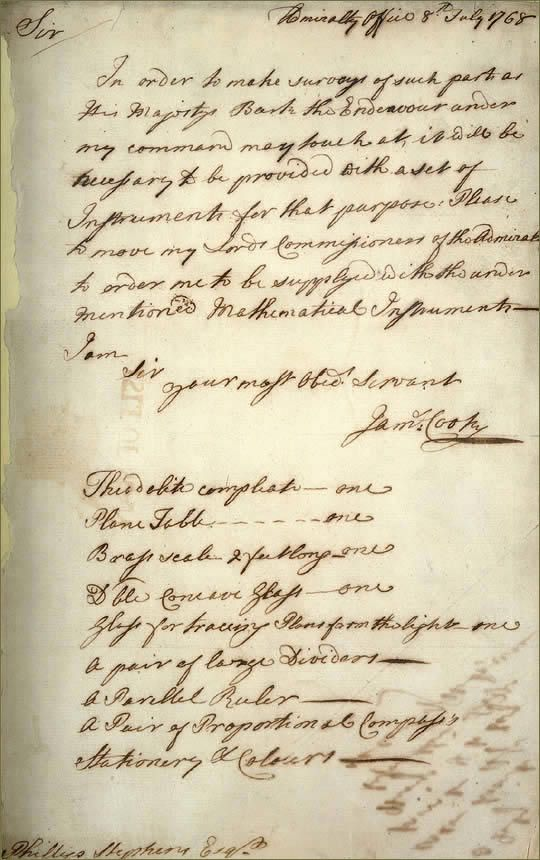 Letter from James Cook, 1768
