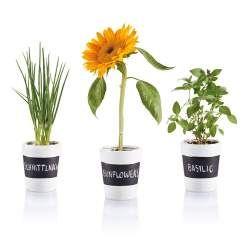 3-delige kruidentuin Set met 3 keramische kruidenpotten met krijtbord vlakje erop, ook te bedrukken op t potje, symbool voor groei...