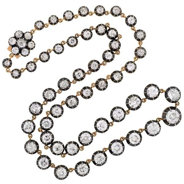 Victorian Style 18kt & Sterling Riviera Diamond Necklace 17ctw.