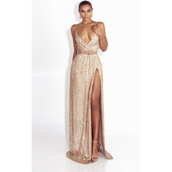 Glam Gold Sleeveless Sequin Gown ($130) ❤ liked on Polyvore featuring dresses, gowns, white dress, long sleeve white gown, white gold dress, white ball gowns and sequin gown