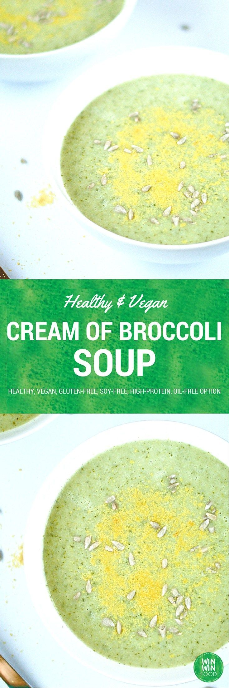 Cream of broccoli soup, Broccoli soup and Vegans on Pinterest
