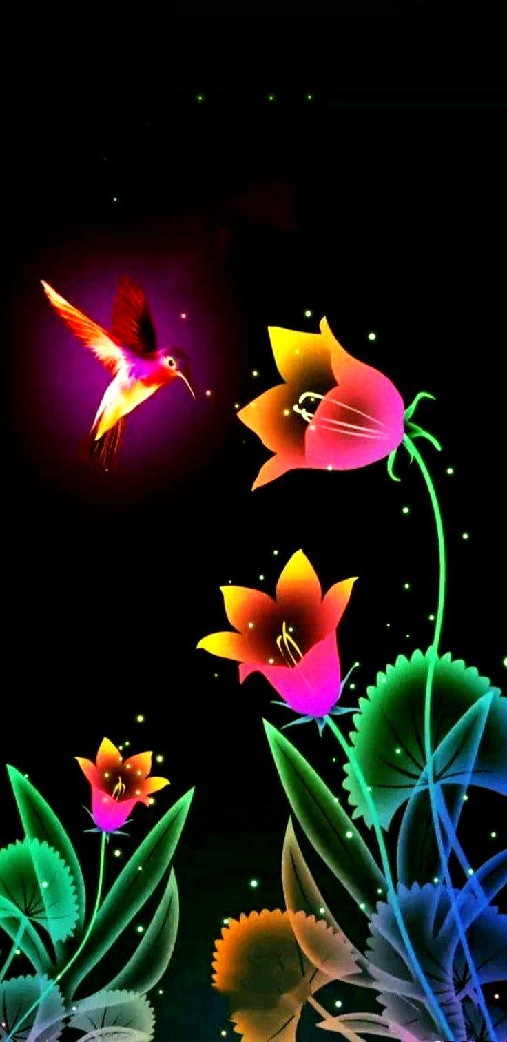 Colorful Hummingbird & Flowers Wallpaper...