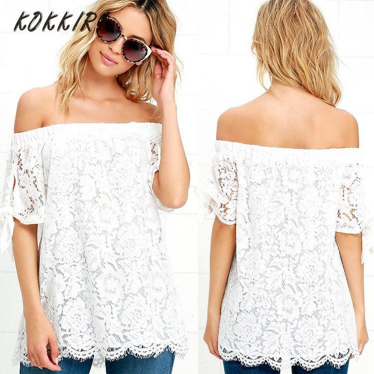 2017 Femmes de T-shirt Blanc Floral Dentelle T-shirt Manches Courtes Off  The Shouder Tops Flare Mignon T shirts Creusent dehors Tops