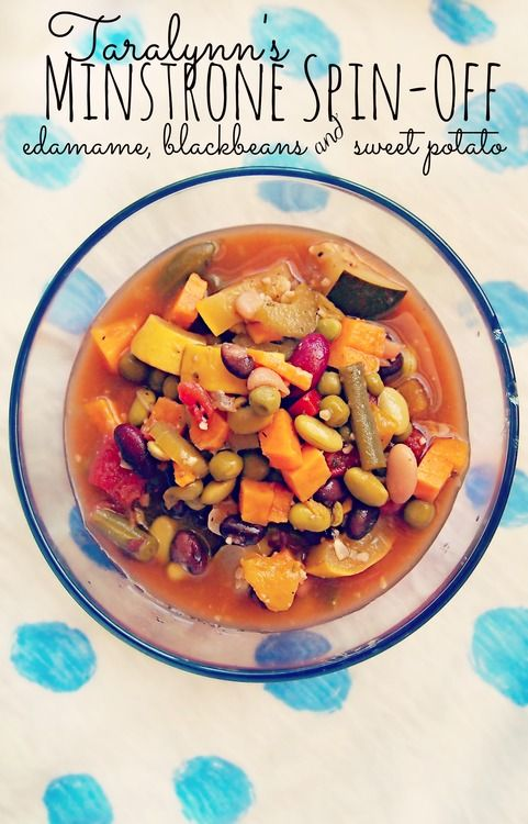 93 Calorie Minestrone Soup! With Sweet Potatoes, Edamame and Black Beans! So delicious!