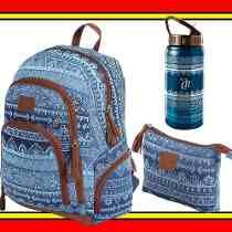 Kit Mochila Necessaire Garrafa Aço Capricho Etnic Blue