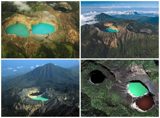 Kelimutu crater lakes, Indonesia Kelimutu, one of hundreds of volcanoes in Indonesia, is unique in that it is topped with three crater lakes...