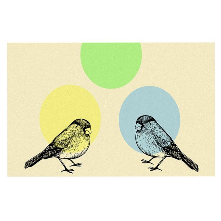 "Sreetama Ray ""Green"" Paper Birds Decorative Door Mat"