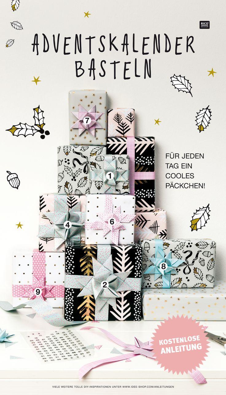 """Für jeden Tag ein cooles Päckchen! Gestaltet euch einen Adventskalender mit unseren """"Magical Christmas"""" Geschenkpapieren und verziert die Päckchen mit Fröbelsternen. Passende Fröbelstreifen in vielen schönen Farben und modernen Designs erhaltet ihr bei uns. Die kostenlose Anleitung für den Kalender sowie weitere Inspirationen für Advent und Weihnachten erhaltet ihr bei uns im Online-Shop. #diy #adventskalender #basteln #xmas #deko #schnell #easy #idee"""