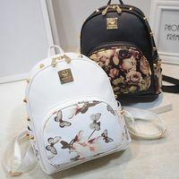 Impressão 3D floral PU LEATHER rivet zipper mochila feminina 2016 designer de moda sacos de escola para adolescentes meninas mochilas de viagem mulheres