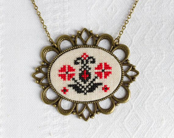 Ethnic embroidery necklace - Ukrainian folk - red and black - made by Skrynka - n070