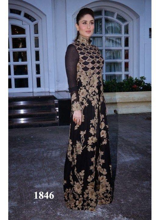 Kareena Kapoor Black And Gold Floor Length Designer Anarkali Suit