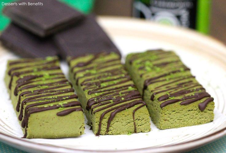 Healthy Matcha Green Tea Fudge Protein Bars (low sugar, low fat, gluten free, vegan)