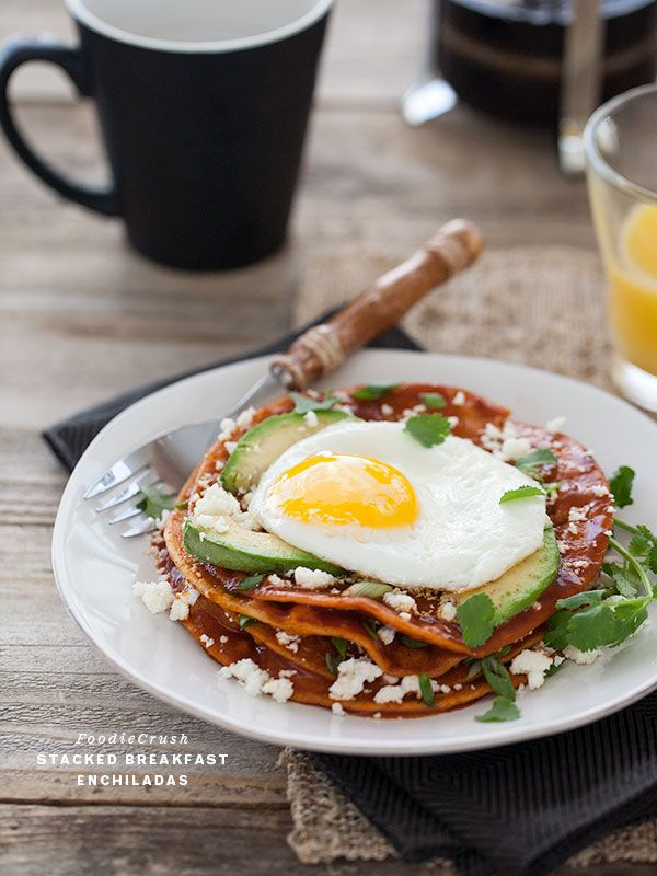 Stacked Breakfast Enchiladas, I love the stacked crunch with saucy goodness