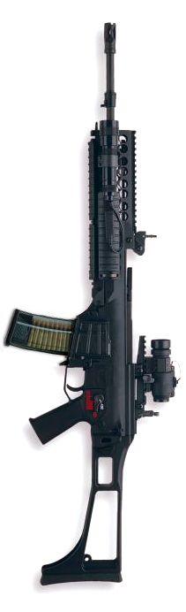 HK G36 assault rifle with optional accessory kit which includes KAC quad rails and a KAC low-profile scope rail.