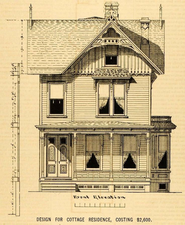 1878 Prints Cottage Architectural Design Floor Plan