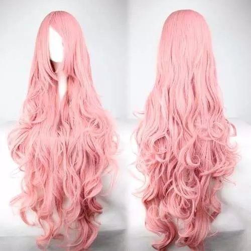 peluca rosa larga cosplay kanekalon disfraz fiesta edecan ca