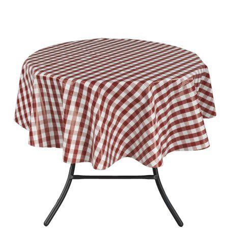 Ottomanson Vinyl Red Checkered Design Indoor & Outdoor Tablecloth with Non-Woven Backing, White