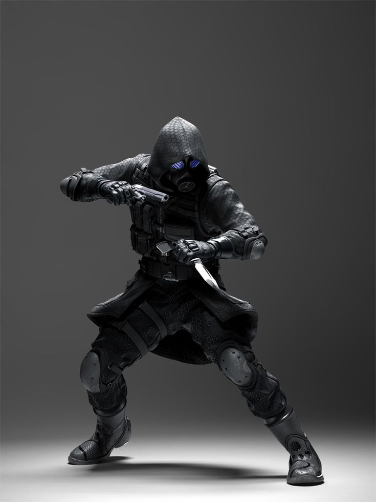 future, Vector, cyberpunk, futuristic, future warrior, gun, knife, man in black, weapon, boots, gloves, future soldier, futuristic soldier by FuturisticNews.com