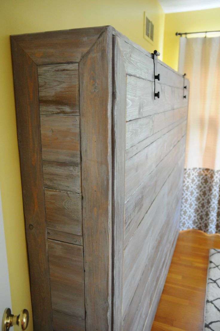 rustic queen sized wall bed make panel from pallet pieces and put photo collage on - Murphy Bed Design Ideas