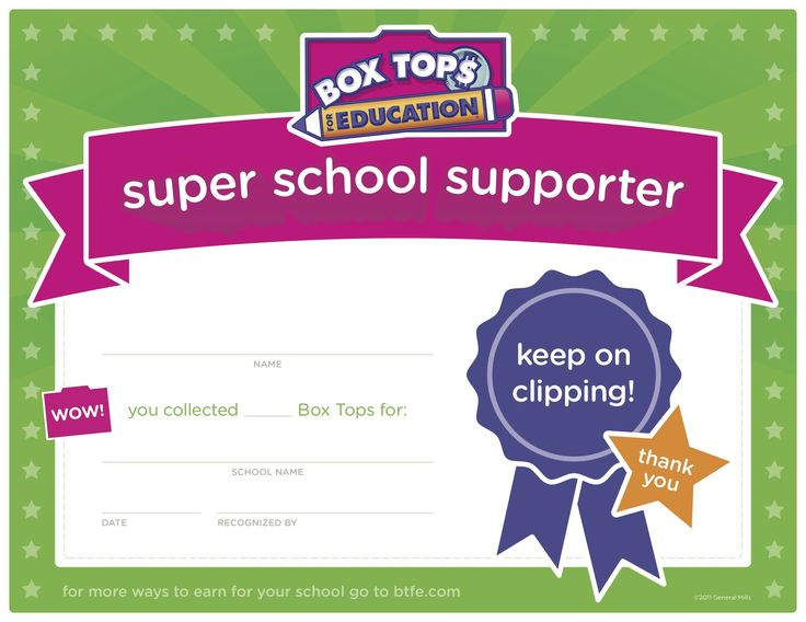 Great for a box tops contest at school!