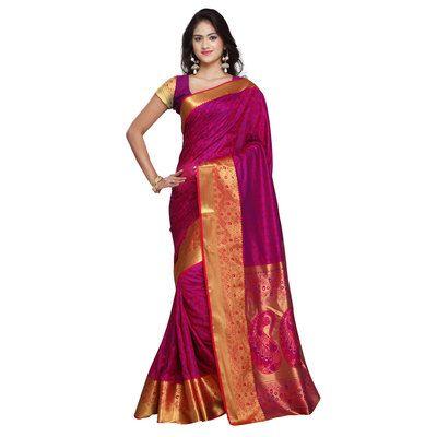 Varkala Pink Kanjivaram Big Border Paisley Pallu Saree Silk Sarees on Shimply.com