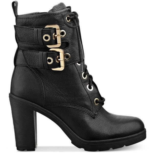 GUESS Women's Finlay High Heel Combat Booties ($169) ❤ liked on Polyvore featuring shoes, boots, ankle booties, booties, footwear, zapatos, combat boots, combat booties, laced booties and lace up combat boots