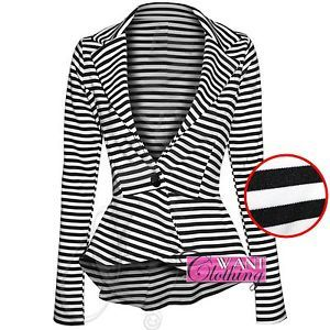 NEW WOMENS STRIPE PEPLUM FRILL BLAZER CROP BODYCON LONG SLEEVE JACKET OFFICE TOP[Black and White Stripe,16]