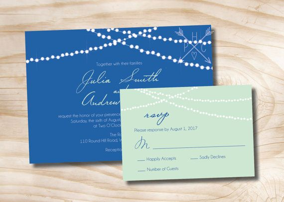 String of Lights Wedding Invitation and Response Card - 100 Professionally Printed Invitations & Response Cards $200