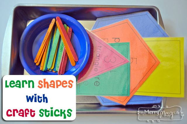Learn Shapes with Craft Sticks – Preschool Learning Activity from My Merry Messy Life
