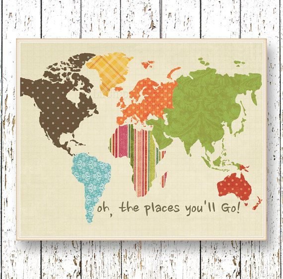 World map artwork quote Oh, the Places you'll Go! Dr Seuss Office art Family Room Living room Kids wall art blue green brown children's art