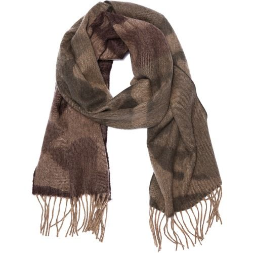 Begg Camo Scarf. A Begg scarf from Scotland. A muted camo pattern adds character to the piece. Fringed ends. Fabric: Felt. 75% wool/25% angora. Dry clean. Made in Scotland