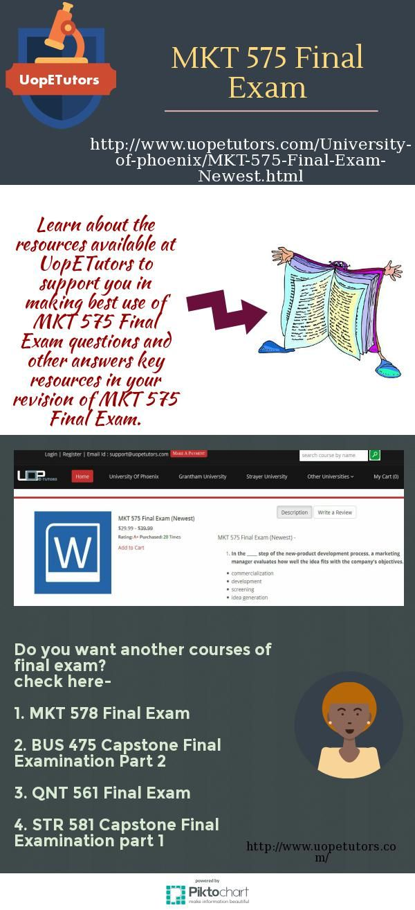 Uop E Tutors offering Phoenix students free past year test papers for upcoming MKT 575 Final Exam and find University of Phoenix mkt 575 final exam and mkt/575 strategic marketing final examination in that. http://www.uopetutors.com/University-of-phoenix/MKT-575-Final-Exam-Newest.html