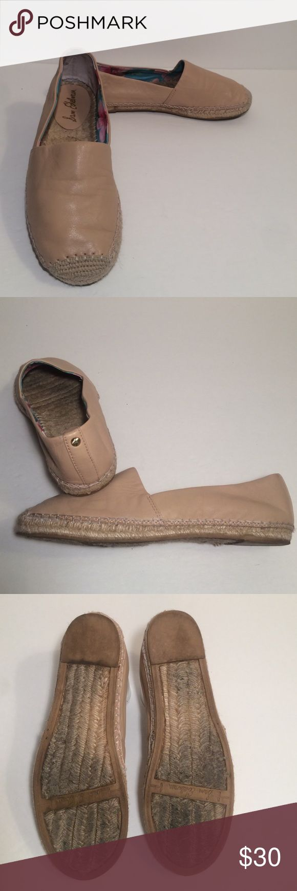 Sam Edelman Espadrille Shoes These slip-on Sam Edelman 'Lynn' Slide on shoes feature a leather upper and espadrille sole. They are in great condition and were only worn a couple of times. These are a size 8.5 Sam Edelman Shoes Espadrilles