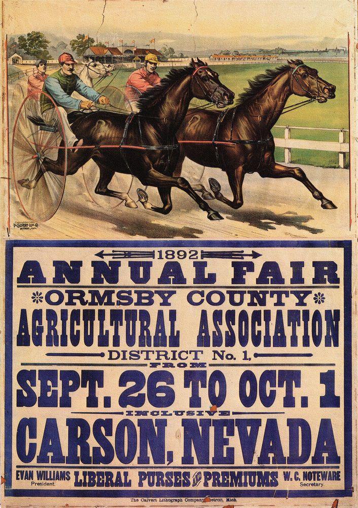 "1892 Harness Racing Horse Racing Vintage Art Print Carson City Nevada 20""X14"" | eBay"
