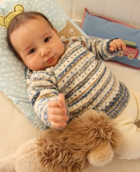 Knit baby kit with stripes