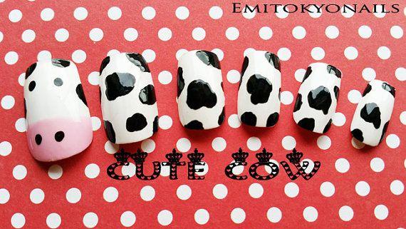 Kawaii NailsCute Cowx24NailsPretty NailsPress on by emitokyonails